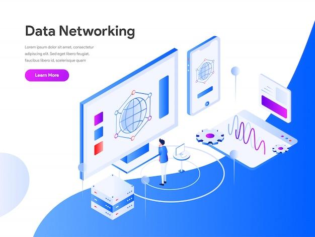 Réseau de données isométrique pour la page web Vecteur Premium