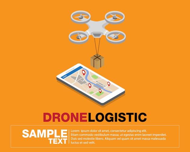 Réseau logistique de drones Vecteur Premium