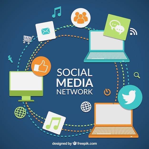Réseau de médias sociaux couleur Vecteur gratuit