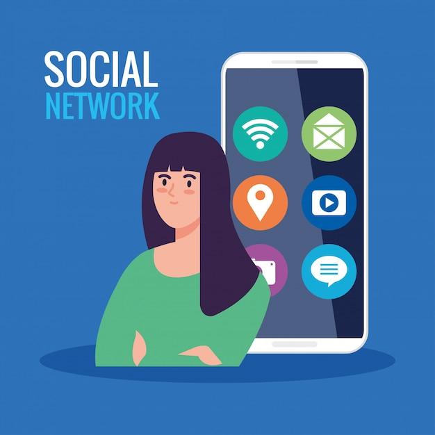 Réseau Social, Jeune Femme Avec Smartphone Et Icônes De Médias Sociaux Vecteur Premium