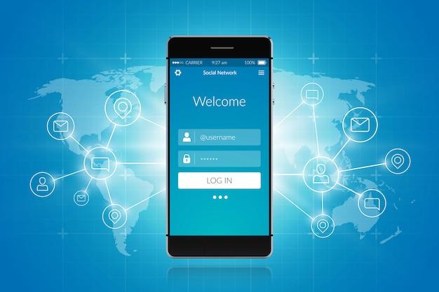 Réseau social smartphone Vecteur gratuit