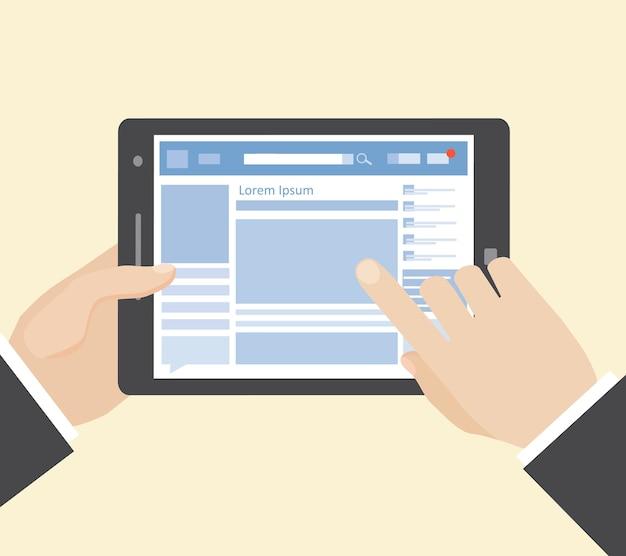 Réseau Social Sur Tablette Avec Les Mains Vecteur gratuit
