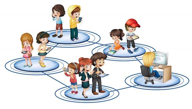 Un réseau social Vecteur gratuit