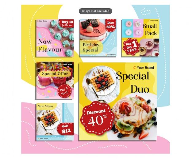 Réseaux sociaux aliments restaurant menu soft palette couleur conception modèle bannière Vecteur Premium