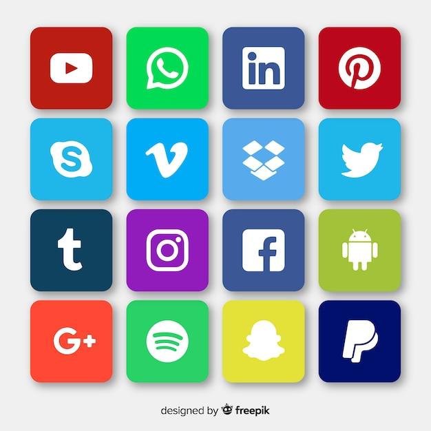 Réseaux sociaux logo collectio Vecteur gratuit