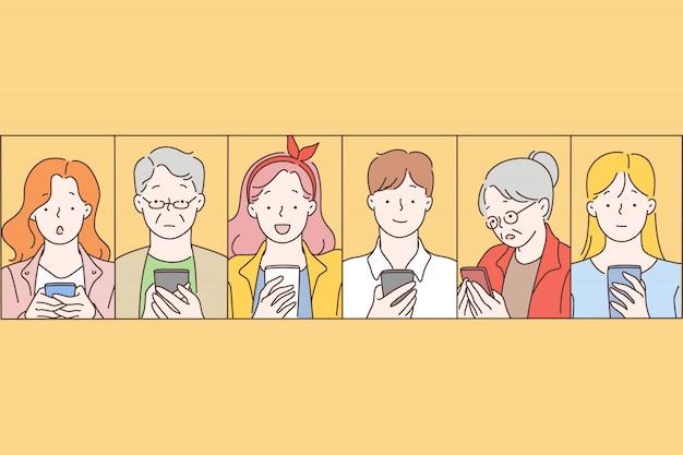 Réseaux sociaux, message, communication. Vecteur Premium