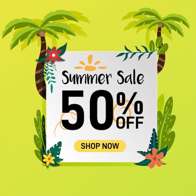 Réseaux sociaux promotion de soldes d'été promotion bannière conception Vecteur Premium