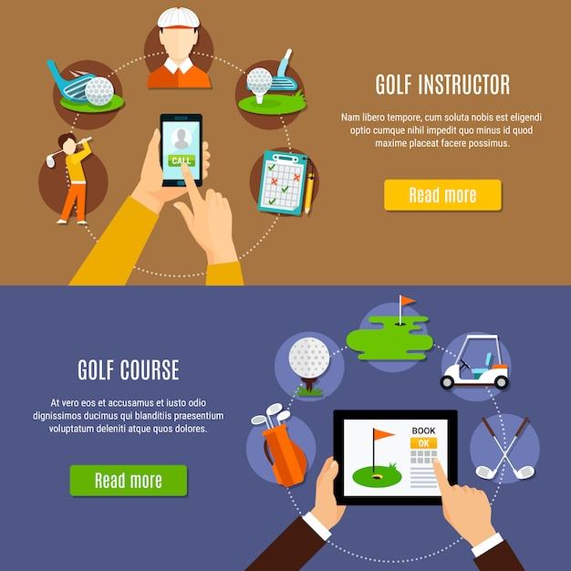 Réservation de bannières de parcours de golf et d'instructeurs Vecteur gratuit