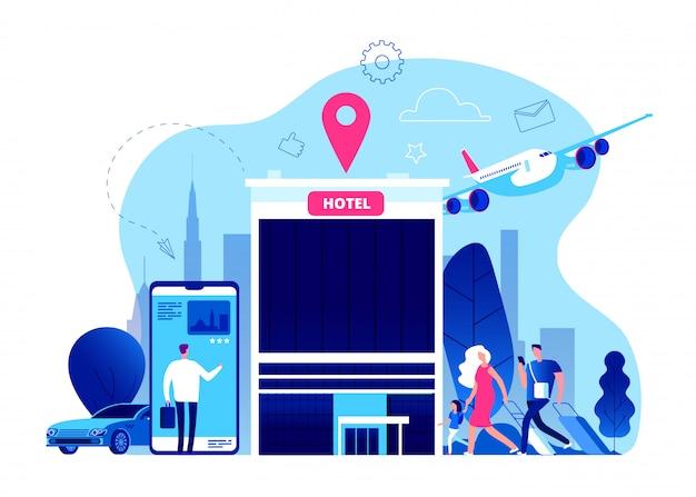 Réservation Hôtel. Réservation De Budget D'hôtels En Ligne Avec Internet, Téléphone Portable Concept De Vacances D'été Moderne Vecteur Premium