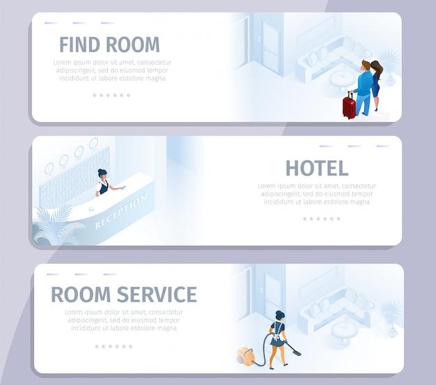 Réservation d'hôtel trouver des bannières de service de nettoyage de chambre Vecteur Premium