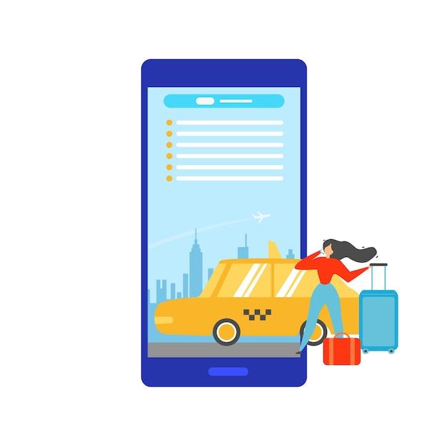 Réservation De Taxi En Ligne Avec Mobile App Vector Concept Vecteur Premium