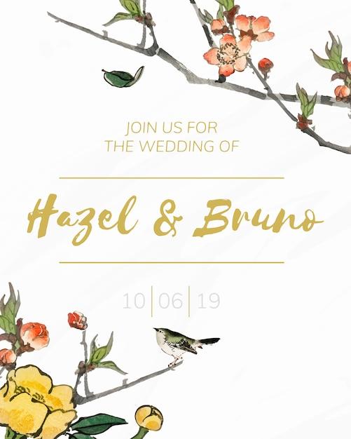 Réservez la date avec le vecteur de design floral Vecteur gratuit