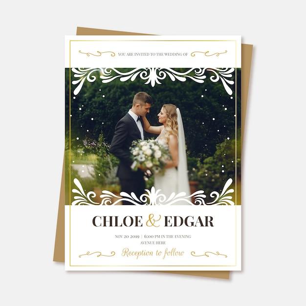Réservez le mariage de date avec photo Vecteur gratuit