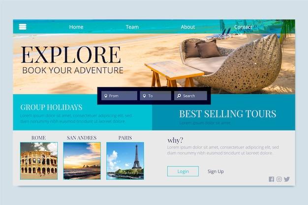 Réservez votre page de destination aventures Vecteur gratuit