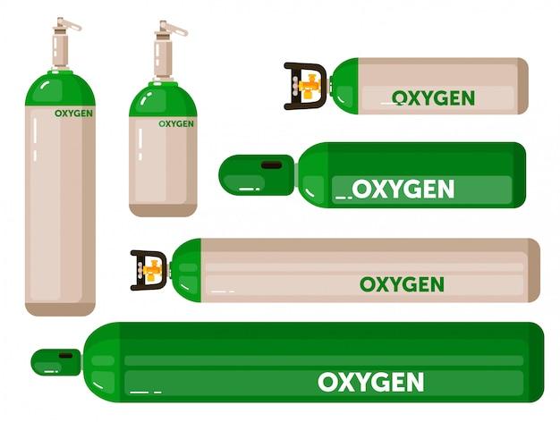 Réservoir De Gaz Oxygène Sur Fond Blanc Vecteur Premium
