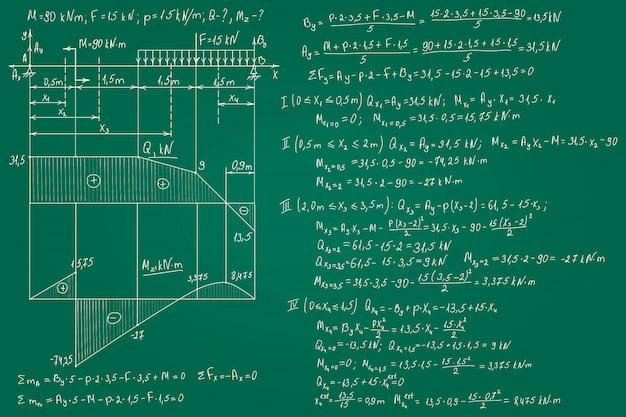 Résistance Des Formules De Matériaux Dessinées à La Main Sur Le Tableau Vert Pour Le Fond. Illustration. Vecteur Premium