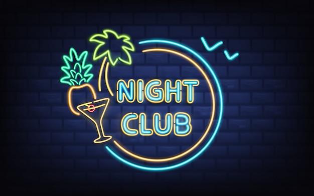Resort night club, enseigne rétro de bar à cocktails de plage avec palmier, noix de coco Vecteur gratuit