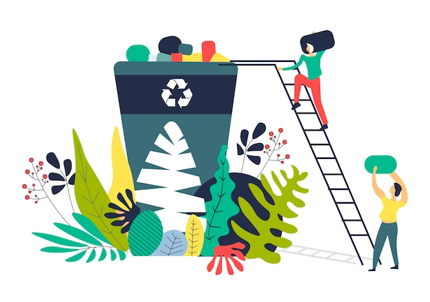 Résoudre des problèmes écologiques en séparant les déchets Vecteur Premium