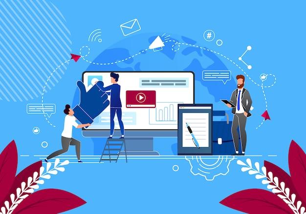 Résoudre les problèmes des entreprises dans les médias sociaux. gestionnaires de contenu Vecteur Premium