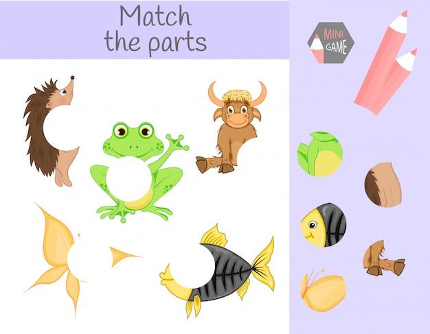 Respect du jeu éducatif pour enfants. faites correspondre les parties d'animaux. trouvez les énigmes manquantes Vecteur Premium