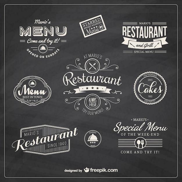 Restaurant badges rétro Vecteur gratuit