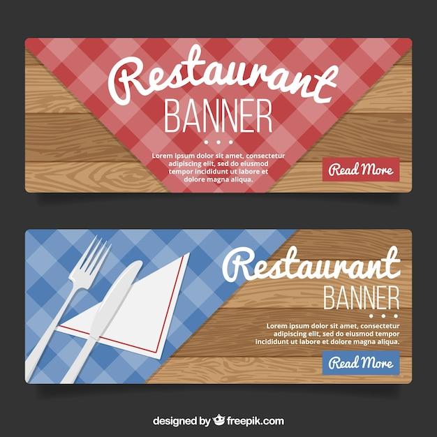 Le restaurant en bois bannières Vecteur gratuit