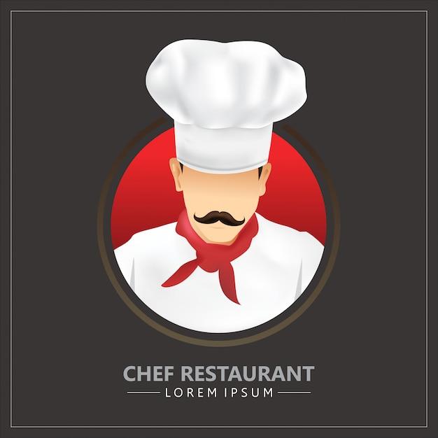 Restaurant Chef Avec L'icône De La Moustache Avec Des Uniformes Et Des Chapeaux De Chef Vecteur Premium