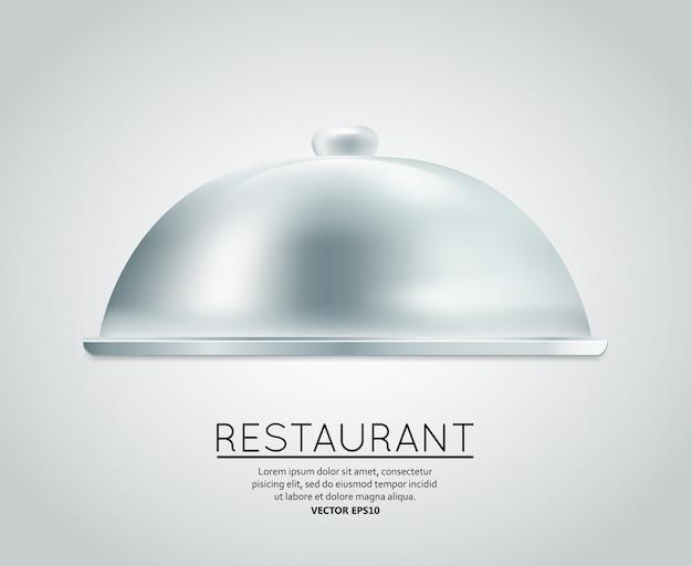 Restaurant cloche nourriture plateau à servir plat repas restaurant menu conception modèle mise en page illustration vectorielle Vecteur gratuit