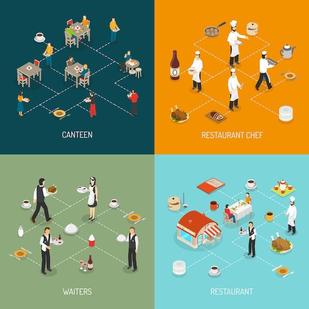 Restaurant Concept 4 Isometric Icons Square Vecteur gratuit