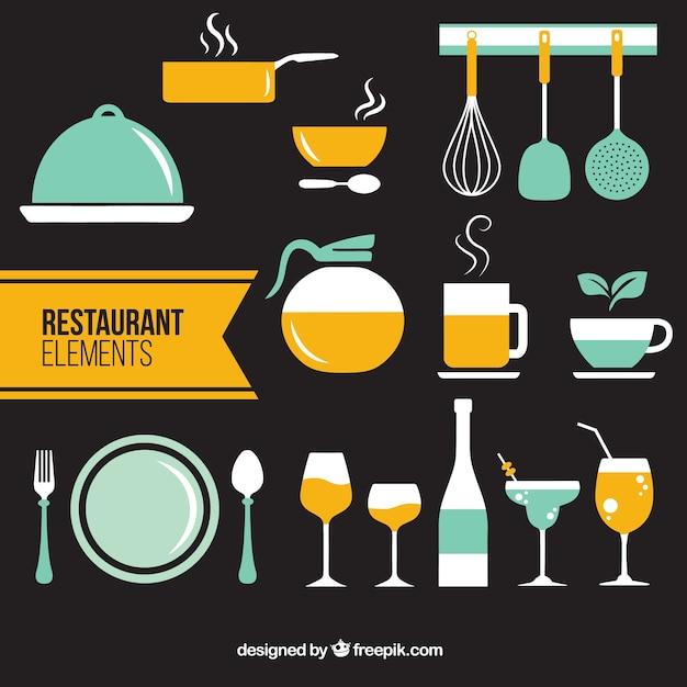 Restaurant éléments plats en deux couleurs Vecteur gratuit