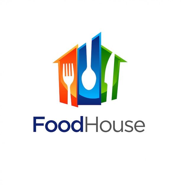 Restaurant, Food House Logo Modèle Vecteur Premium