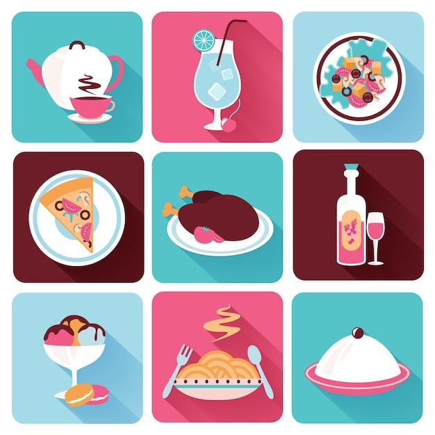 Restaurant food icons flat Vecteur gratuit