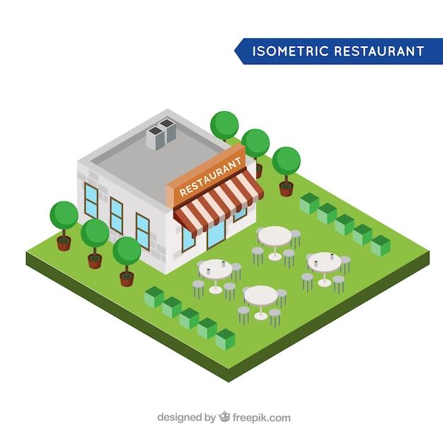 Restaurant isométrique avec terrasse et arbres Vecteur gratuit