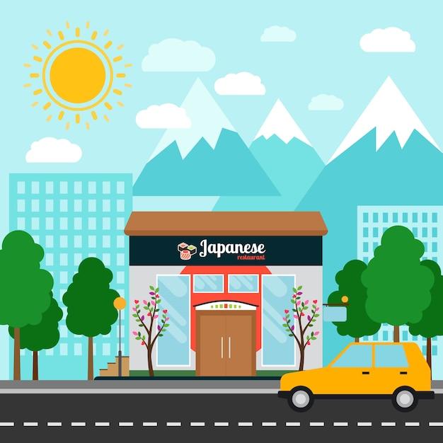 Restaurant japonais et paysage Vecteur Premium