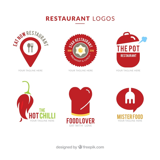 Restaurant Logos Rouge Vecteur gratuit