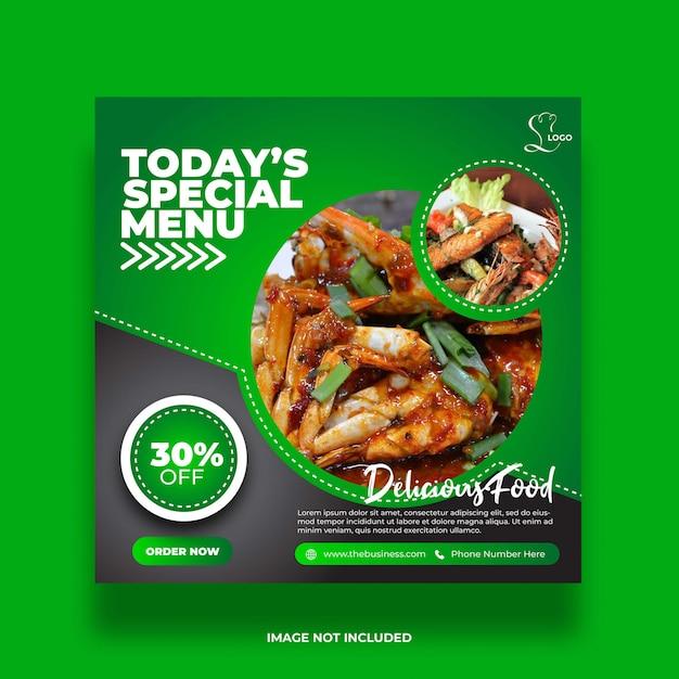 Restaurant Menu Vert Nourriture Spéciale Médias Sociaux Post Coloré Abstrait Modèle Premium Vecteur Premium