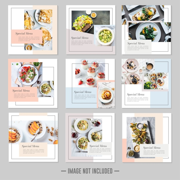 Restaurant nourriture médias sociaux poster des bannières de modèle Vecteur Premium