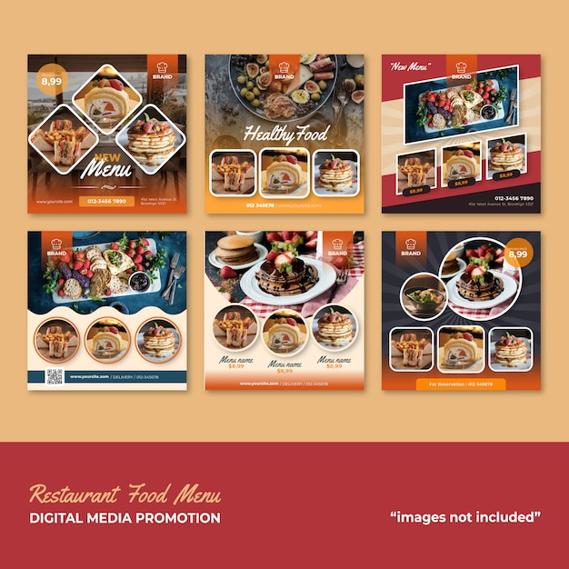 Restaurant nourriture menu social media promotion Vecteur Premium