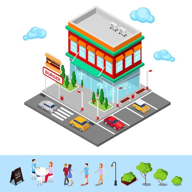 Restaurant de ville isométrique. fast food cafe avec zone de stationnement. illustration vectorielle Vecteur Premium