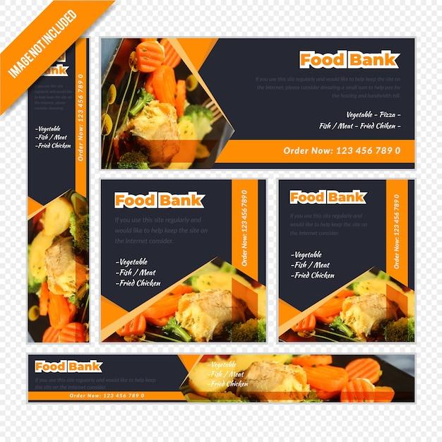 Restaurant web banner set pour la banque alimentaire Vecteur Premium