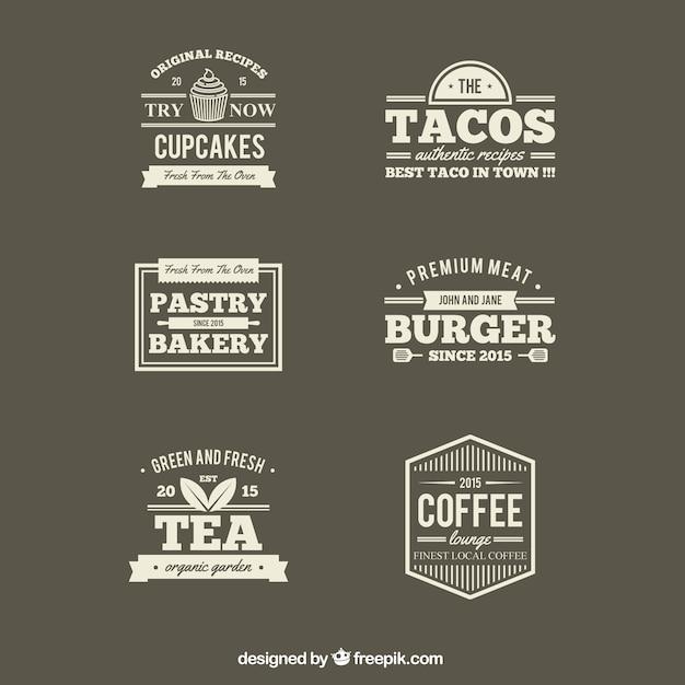 Restaurants Retro étiquettes Vecteur gratuit