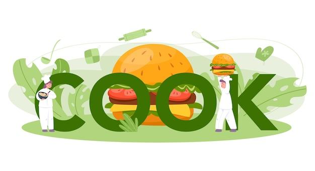 Restauration Rapide, Concept D'en-tête Typographique Burger House. Le Chef Cuisine Un Délicieux Hamburger Avec Du Fromage, De La Tomate Et Du Bœuf Entre Un Délicieux Petit Pain. Restaurant De Restauration Rapide. Vecteur Premium