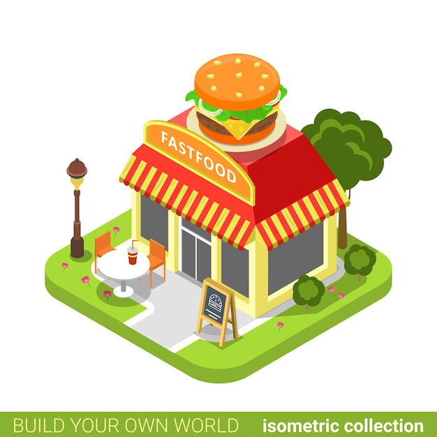 Restauration Rapide Diner Restaurant Café Boutique Forme De Hamburger Bâtiment Concept Immobilier Immobilier. Vecteur Premium
