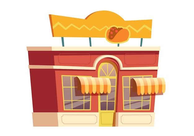Restauration Rapide Restaurant Mexicain Bâtiment Dessin Animé Vecteur gratuit