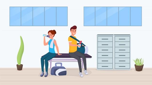 Reste Après L'exercice Dans Un Appartement De Gym Vecteur Premium