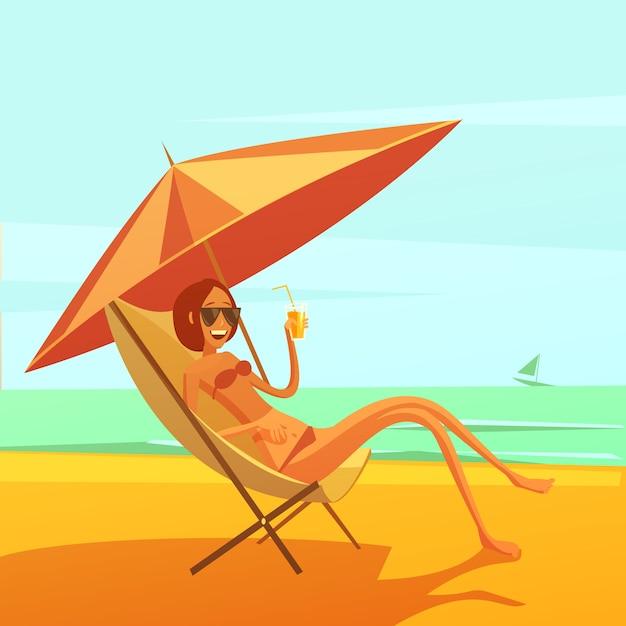 Reste en fond de mer avec femme dans une chaise longue, buvant un cocktail Vecteur gratuit
