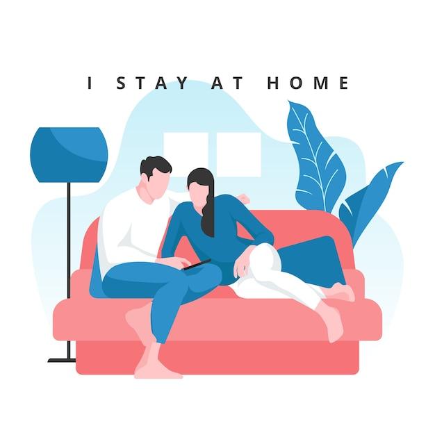Rester à La Maison Concept Couple Sur Canapé Vecteur gratuit