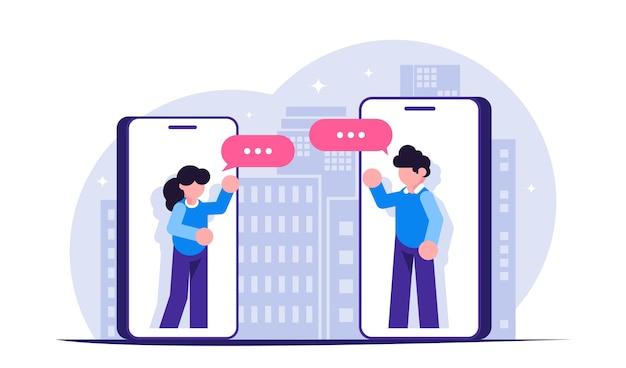 Rester à La Maison. Les Gens Communiquent Via Des Messagers Dans Les Téléphones Mobiles Pendant Une épidémie Ou Un Isolement Vecteur Premium
