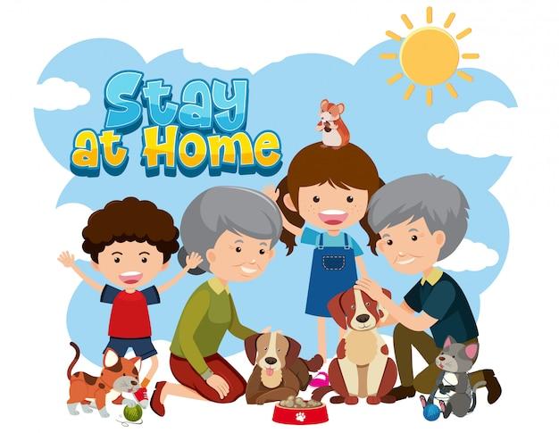 Rester à La Maison Avec Des Personnes âgées Et Des Enfants Vecteur Premium