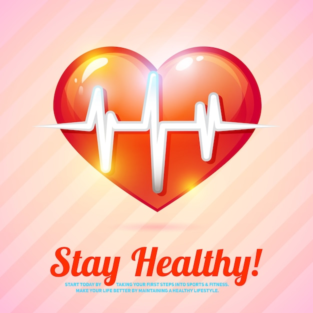 Restez en bonne santé carte. mode de vie sain avec illustration vectorielle de battement de coeur Vecteur Premium